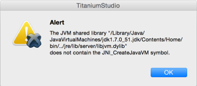 Java Error message stating that the JVM shared library libjvm.dylib does not contain the JNI_CreateJavaVM symbol